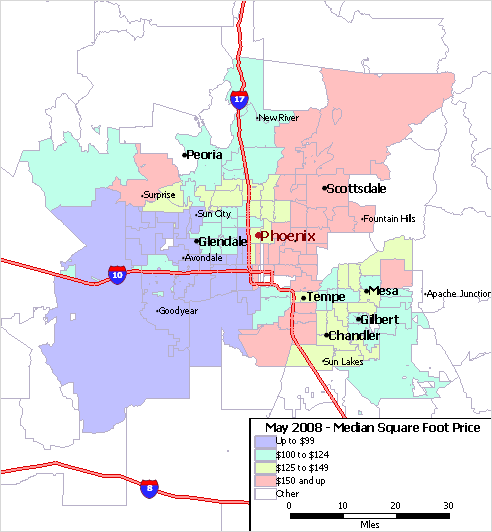 A Map Of Phoenix Arizona.Phoenix Az Map Of Median Home Price Per Square Foot Arizona Real