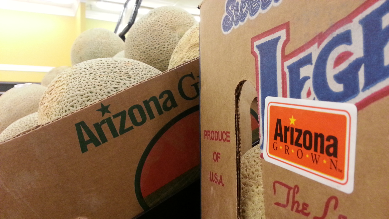 Arizona Grown logo on cantaloupes